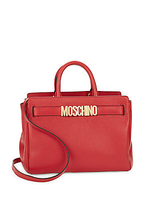 Moschino Convertible Leather Satchel Red Fpi0ef6