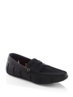Swims Mesh Trimmed Penny Loafers Black 26BI5W2