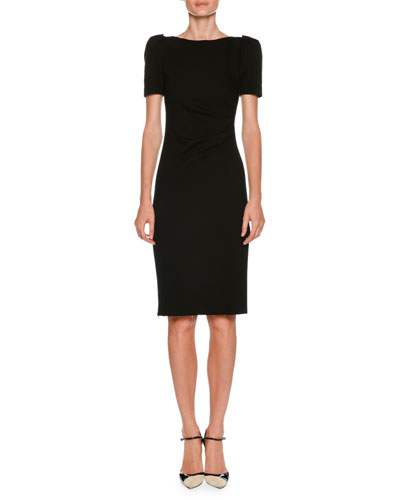 Neck Black Dress Short Side W Giorgio Armani Sleeve Bateau Sheath Ruched T1v6cEq4w7