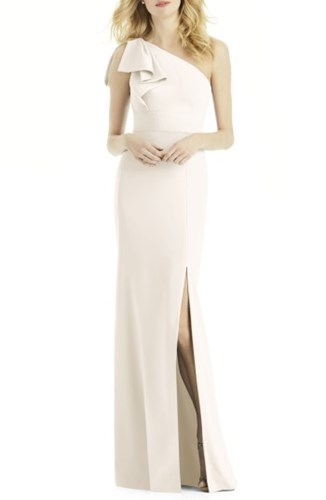 One Shoulder Gown After Women's Ivory Bow Six wHSqT