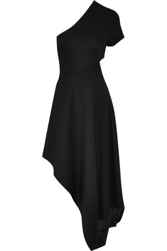 Rosetta Getty One Shoulder Stretch Ponte Midi Dress Black vFpo9