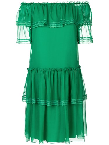 Alberta Ferretti Ruffled Off Shoulder Dress Silk Acetate Spandex Elastane Polyamide Green TrXE9P7Z