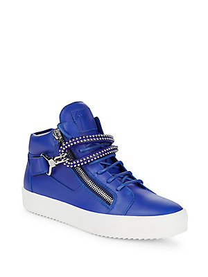 Sneakers Eye Hook Leather Stud Giuseppe Zanotti Blue And 4wfzYxq1I