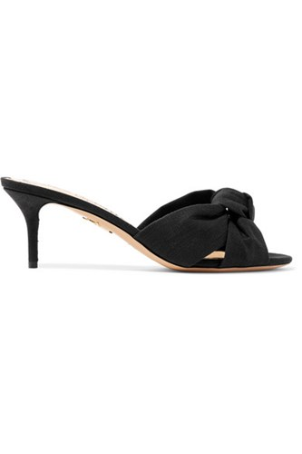 Charlotte Olympia Lola Knotted Canvas Mules Black Gbp PNJYg6E