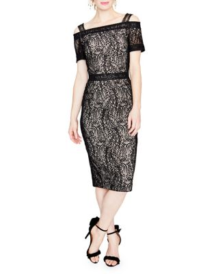 Rachel Roy Floral Lace Cold Shoulder Midi Dress Black kWE1bI2