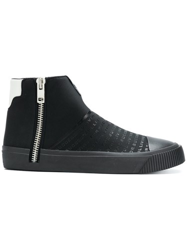 Diesel Zip Hi Top Sneakers Calf Leather Polyester Rubber Black 6A5x7QHzXZ