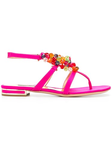Casadei Beaded Sandals Pink And Purple BD82f5Pn3o