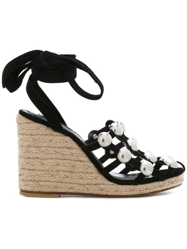 Alexander Wang Taylor Wedge Sandals Women Leather Suede 36 Black VdR2OXxIrr