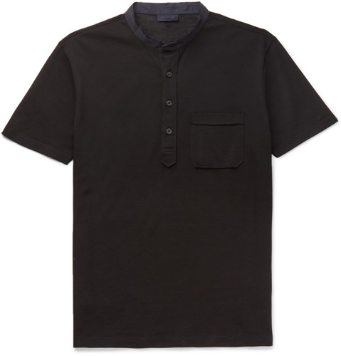 Slim Fit Grandad Collar Cotton Pique Polo Shirt Black