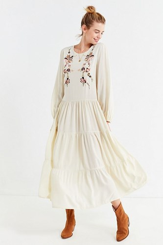 Urban Outfitters Uo Bohemian Embroidered Maxi Dress Neutral Multi LwhHUR8