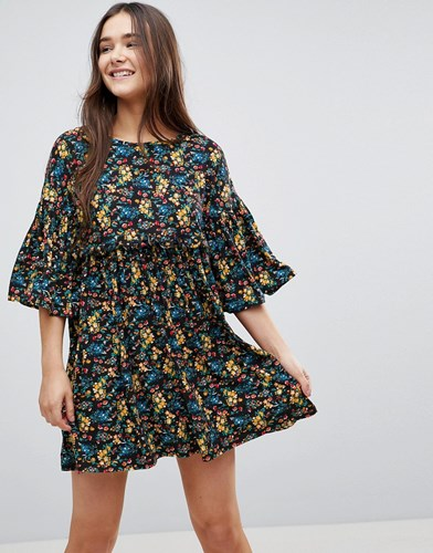 Smock Black Floral QED Frill Dress With London xOZUqWwCF1