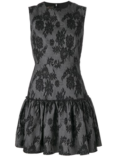 Giambattista Valli Jacquard Lace Mini Dress Grey Qv5zIop