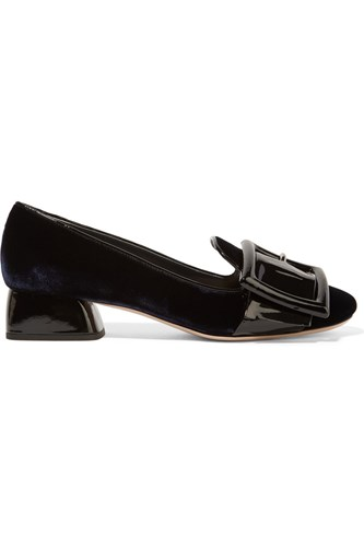 Buckled Patent Leather And Velvet Pumps Midnight Blue