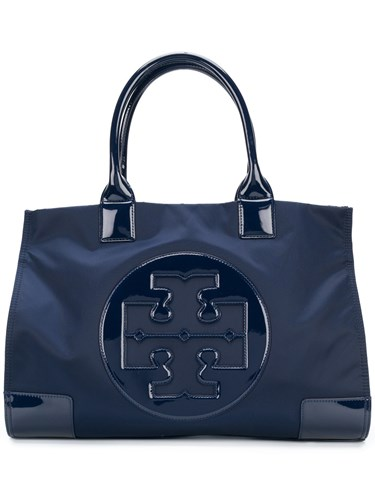 Tory Burch Ella Tote Polyester Patent Leather Blue lw7Dr1aH