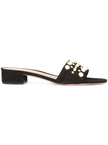 Schutz Pearl Embellished Sandals Leather Suede 9.5 Black YxCUFV0w