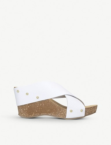 Carvela Comfort Sooty Leather And Cork Wedge Sandals White 1SeMGrIO