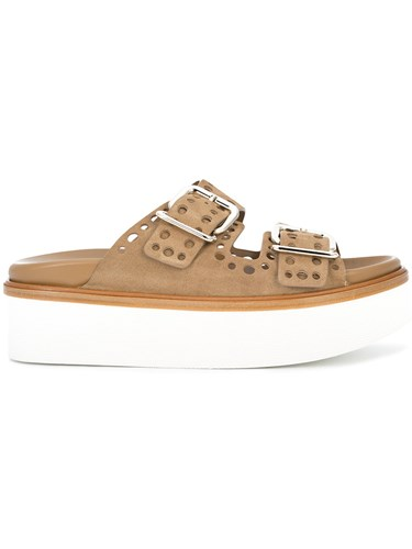 Tod's Punched Hole Double Buckle Sandals Brown LUBzB