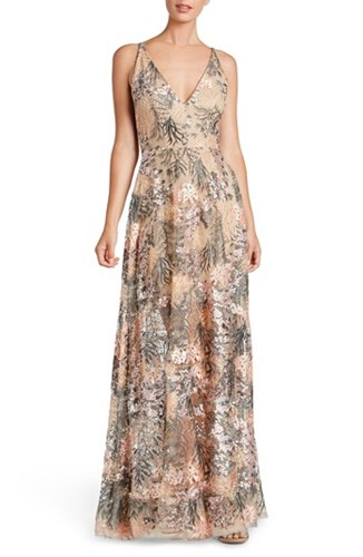 Dress the Population 'S Sidney Embroidered Fit And Flare Gown Pink Blossom LQH2pbpw2a