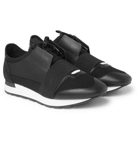 Balenciaga Race Runner Leather Neoprene Suede And Mesh Sneakers Black Cwe6w4e