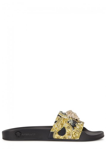 Black Leather Versace Sliders Barocco Medusa IFwAUqA