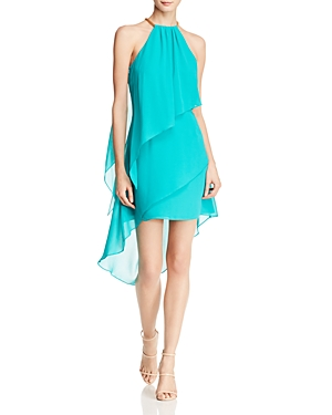 Laundry by Shelli Segal Tiered Halter Dress Tropical Green 3wuiT1oLGK