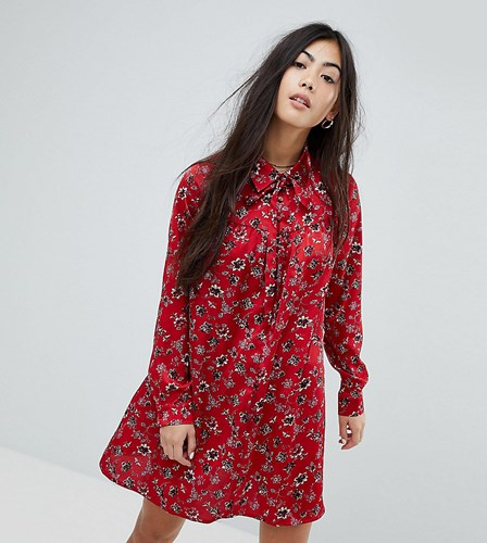 Glamorous Petite Long Sleeve Shirt Dress In Vintage Floral Red OllDgtMNz