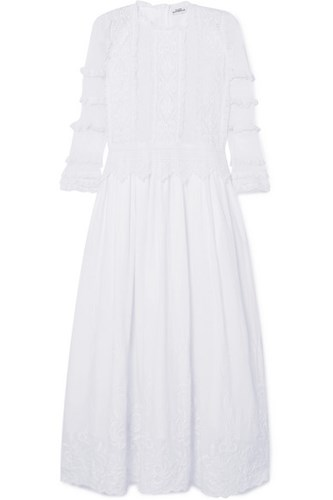 Place Nationale Bouyon Mesh Paneled Embroidered Cotton Voile Maxi Dress White B4nnvkvc2