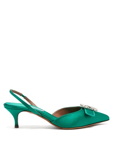 Crystal Tabitha Green Satin Bells Embellished Pumps Simmons pprEqf