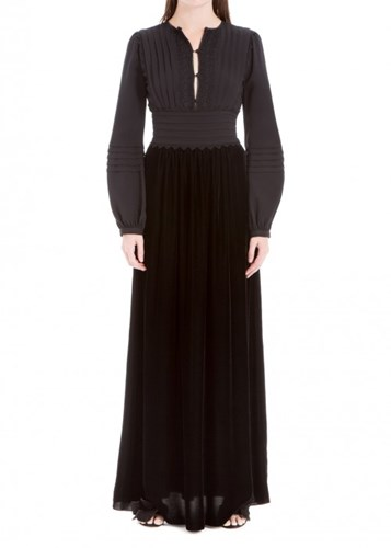 Leon Max Crepe And Velvet Long Dress AmbyxDWLR