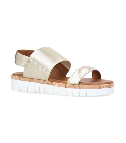 Carvela Metallic Sylvia Flatform Sandals Gold ByXcs
