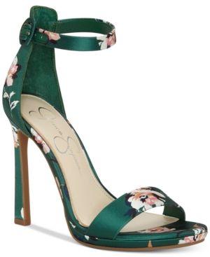 Piece Satin Jessica Simpson Floral Two Plemy Green Dress Shoes Emerald Sandals Women's PqtHq