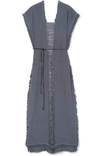 Caravana Tunku Belted Frayed Cotton Gauze Maxi Dress Midnight Blue q7UUfeTtg