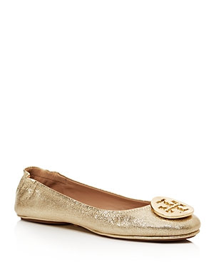 Tory Burch Minnie Metallic Leather Travel Ballet Flats Spark Gold uiRsSrFfWH
