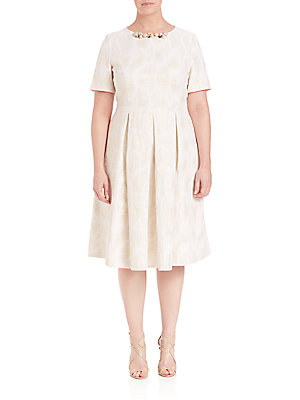 Basler, Plus Size Jacquard Fit And Flare Pleated Dress Off White