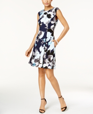 Vince Camuto Floral Print Fit And Flare Dress Black Multi Yj3TutoeEK