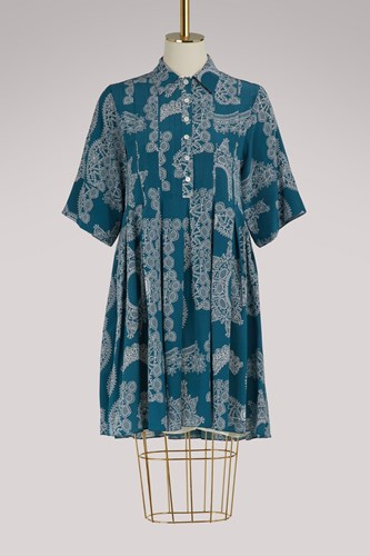 Carven Silk Dress Bleu Acier WAllkvPa