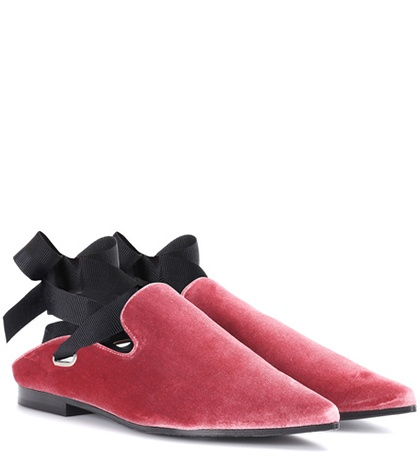 Self-Portrait X Robert Clergerie Lubay Velvet Loafers Pink 2pqCo