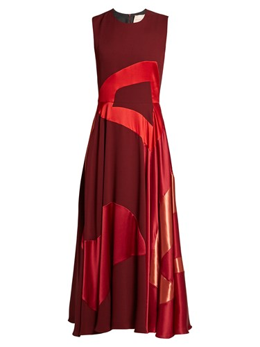 Roksanda Ilincic Keanu Multi Panel Sleeveless Crepe Dress Burgundy Multi p4C9dLL