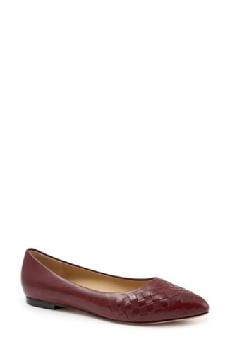 Toe Pointed Dark Estee Leather Women's Red Trotters Flat atxqWZ7pw