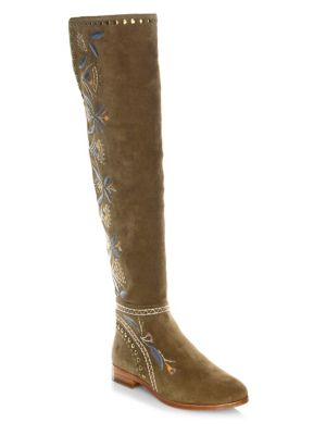 Frye Tina Over The Knee Embroidered Suede Boots Sand YAcZE