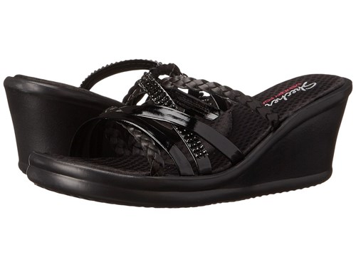 Skechers Cali Rumblers Wild Child Black Black Women's Sandals SkQlYmhsm