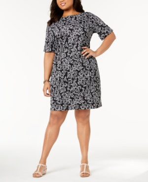 Karen Scott Plus Size Printed Shift Dress Created For Macy's Deep Black jpQqKfhDL