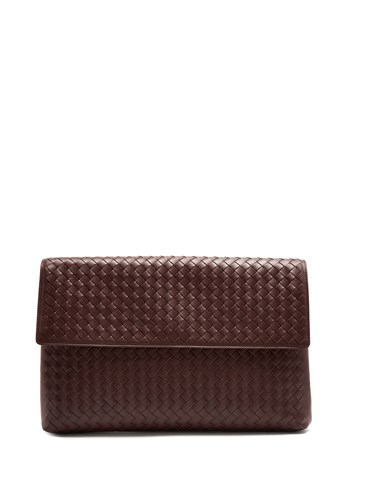 Bottega Veneta Intrecciato Front Flap Leather Document Holder Burgundy f3LRkauj