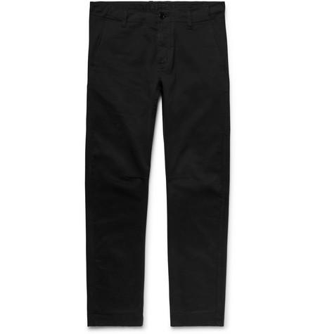 Garment Dyed Stretch Cotton Twill Trousers Black