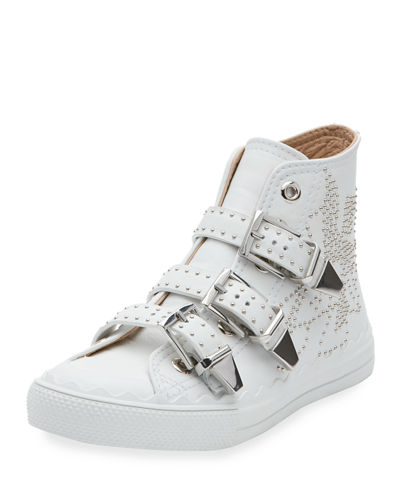 Chloé Kyle Studded High Top Leather Sneaker White Htyze