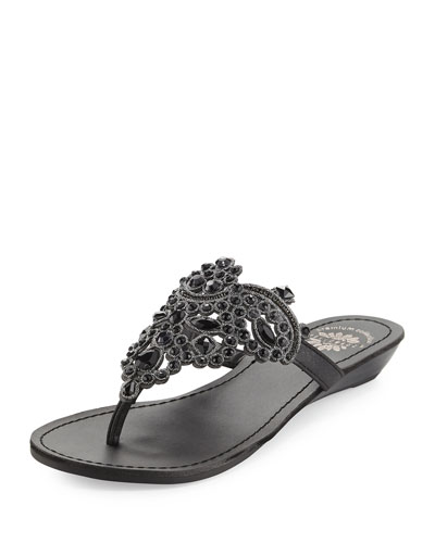 Premium Collection by Yellow Box Amee Embellished Thong Sandal Black 0DAk2e5S