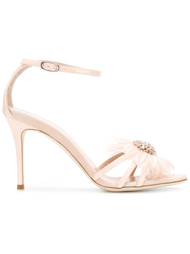 Nude Giuseppe And Zanotti Sandals Neutrals Embellished Flower Design w6n7qfP6O
