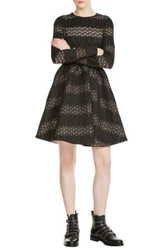 Maje Relane Fit And Flare Dress Black Yci5A