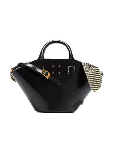 Trademark Black Small Leather Bag With Gingham Insert aRR6dj