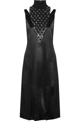 By Malene Birger Leosa Embellished Chiffon Paneled Satin Midi Dress Black LeYz31UOJC